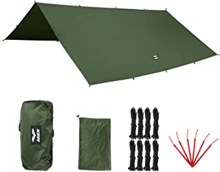 MIER Outdoor Ultralight Waterproof Tent Tarp Windproof Hammock Rain Fly Ripstop Backpacking Camping Shelter, 6 Stakes and 8 Ropes Included