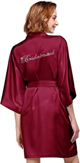 Women's Satin Robe for Bridesmaid and Bride Wedding Party Getting Ready Short Kimono with Silver Rhinestone