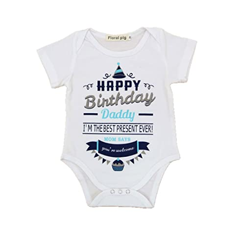 WINZIK Newborn Infant Baby Boys Girls Outfits Happy Birthday Daddy Cake Print Romper Jumpsuit Clothes T