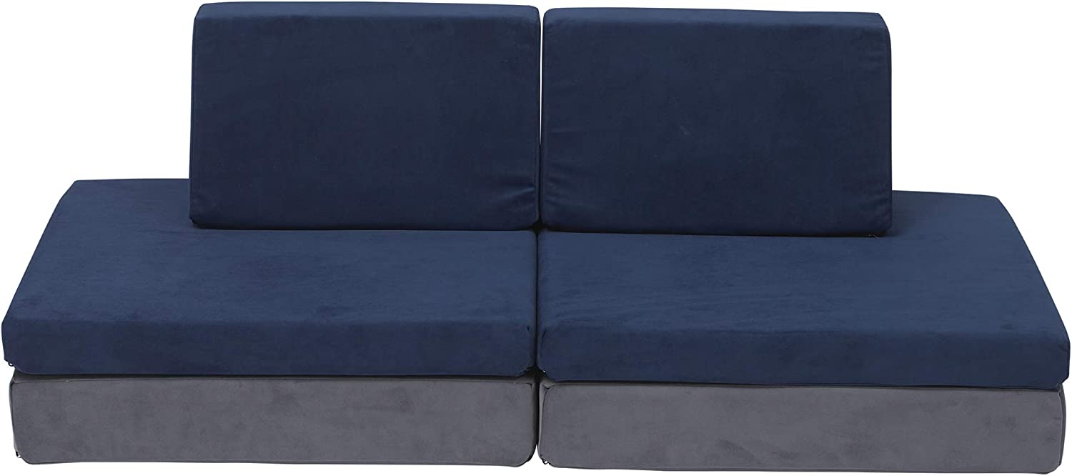 Children's Factory The Whatsit Kids Couch or 2 Chairs, Gray & Navy, CF349-068, Toddler to Teen Bedroom Furniture, Girls and Boys Playroom Sofa