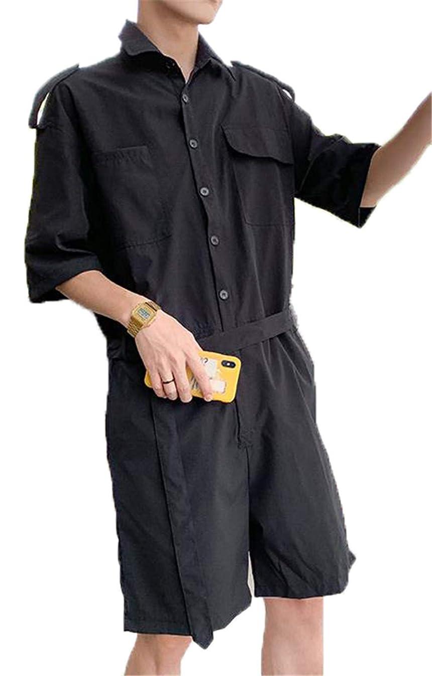 悲観主義者そっと区別[ベィジャン] メンズ 半袖 ジャンプスーツ スーツ ポケット付き つなぎ 作業服 オーバーオール オールインワン ロンパース カジュアル 夏 おしゃれ ゆったり