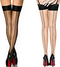 2 Pack Nylon Sexy Thigh High Stockings With Back Seam For Women Suspender Garter Belts Cuban Heel Tights Pantyhose