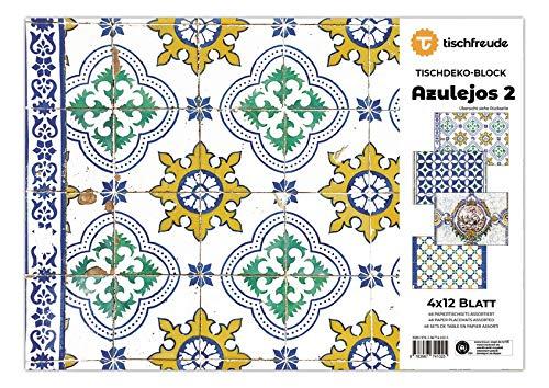 AZULEJOS 2, Tischdeko-Block, 4 x 12 Blatt: mit kunsthistorischem Abriss zu den Motiven