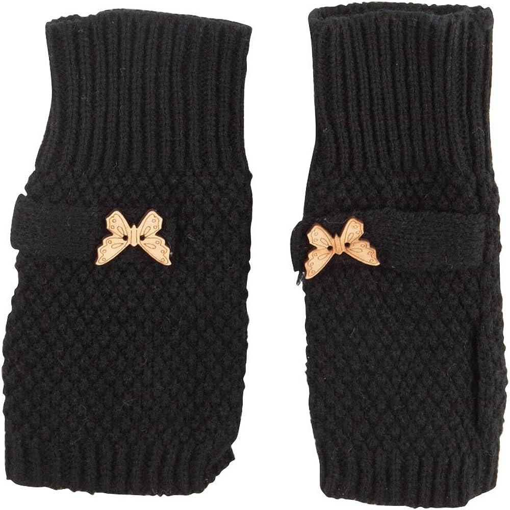 Women's Waffle Butterfly Fingerless Glove