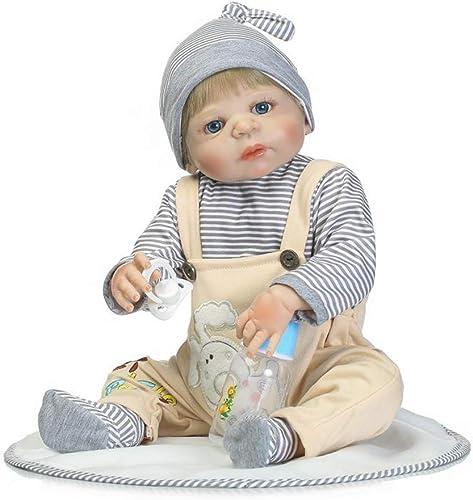 CAheadY 56cm Handgemachtes Reborn Baby Doll Vinyl Silikon Lebensechte Kinder Begleiten Spielzeug Khaki