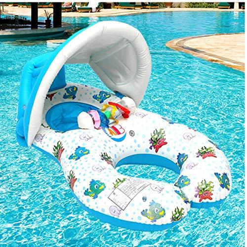 Draagbare Baby Zwembad Float Neck Ring Met Zonnescherm Draagbare Moeder Kinderen Zwemmen Cirkel Opblaasbare Veiligheid Zwemring Float Seat 97x55cm