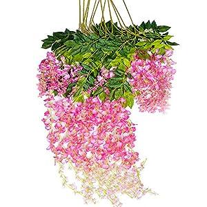 Mavee 3.6 Feet Artificial Silk Wisteria Vine Ratta Silk Hanging Flower Wedding Decor,12 Pieces