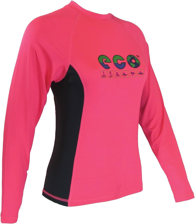 ECO Womens Rash Guard Fluorescent Pink/Graphite