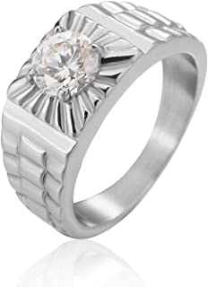 Stainless Steel Ring for Men Silver Watchband Cubic Zirconia Cool Punk Rock Style Gothic Ring