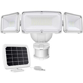 LEPOWER 1600LM LED Solar Security Lights Motion Outdoor, Super Bright Solar Motion Sensor Light, 5500K White Light, IP65 Waterproof Flood Light with 3 Adjustable Head for Yard, Garage