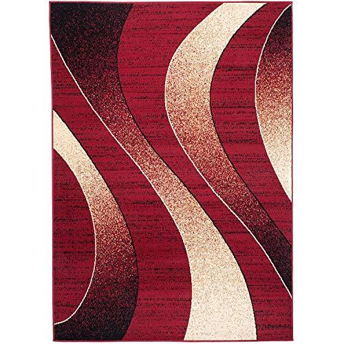 Alfombra Salon Grande Pelo Corto - Moderno Diseño Geométrico - Alfombra Cocina Habitación Dormitorio Comedor Rojo 80 x 150 cm
