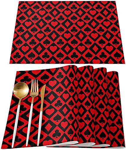 Manteles Individuales, manteles Individuales Resistentes al Calor Spades Cube Heart Rojo Negro Antideslizante Alfombrillas de PVC Lavables Red Buffalo Grid Check Cocina Mesa de Comedor Decor