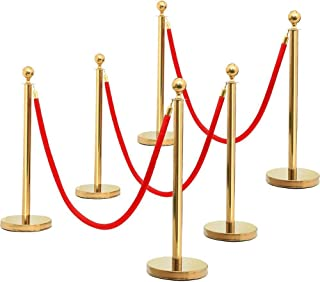 Yaheetech Stanchions and Velvet Ropes Stainless Steel Stanchions Posts Queue Pole Retractable Belt/Ropes VIP Crowd Control Barrie with 6.5 Foot Red Velvet Rope Gold, 6-Pack