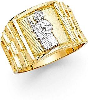 Ioka -14K Solid Two Tone Gold Jesus Shepherd Men's Religious Ring