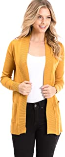 Womens Basic Long Sleeve Open Front Comfy Sweater Cardigan
