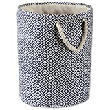DII Geo Diamond Woven Paper Laundry Hamper or Storage Bin, Large Round, Nautical Blue