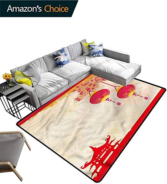 TableCoversHome Lantern Novelty Girls Bedroom Rug Japanese Old Paper Pattern Printing Rugs Fashionable High Class Living Bedroom Rugs 5 X 8