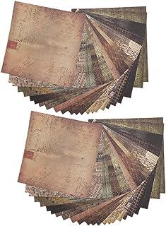 48 feuilles de papier de scrapbooking vintage, papier décoratif ancien de 5,9 pouces pour cartes de voeux, écriture, artis...
