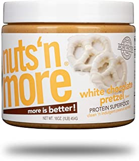 Nuts `N More White Chocolate Pretzel Peanut Butter Spread, All Natural High Protein Nut Butter Healthy Snack, Omega 3's, Antioxidants, Low Carb, Low Sugar, Gluten-Free, Non-GMO,16 oz Jar