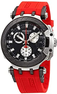 Men's T-Race Chrono Quartz 316L Stainless Steel case with Black PVD Coating Swiss Silicone Strap, Red, 22 Casual Watch (Model: T1154172705100)