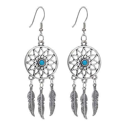 63919e84f Qingsun Women's Retro Earring Turquoise Dreamcatcher Dangle Drops Earrings  Feathers Bead Antique Silver