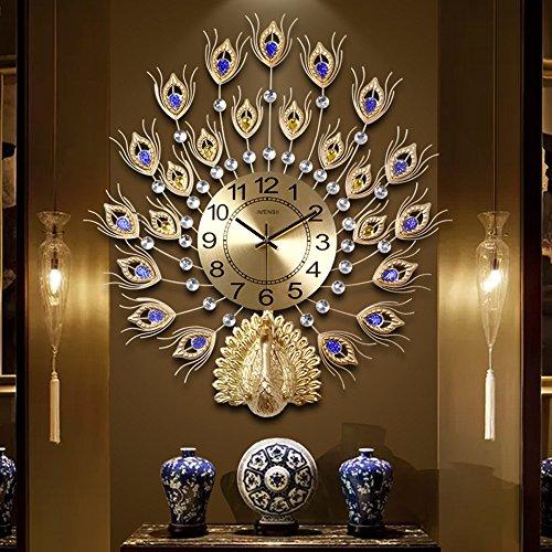 KHSKX-Der Pfau Zimmer Auf Die Uhr Die Wand Im Wohnzimmer Uhr Einfach Moderne Schlafzimmer Ruhig Europäischen Stil Kreative Quarz - UhrGoldene