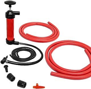 Bomba de Aire multifunción manual | Infla-Aspira aire y líquidos | para vaciar transferir gasolina aceite | inflador para bici pelotas colchonetas hinchables | rojo