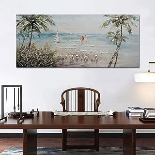XIANRENGE Peinture À l'huile Peinte À La Main sur Toile,Cocotier Paysage mer Tableau Abstrait Peinture Moderne Art Pop Mu...