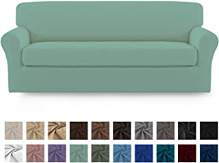 Easy-Going 2 Pieces Microfiber Stretch Sofa Slipcover – Spandex Soft Fitted Sofa Couch Cover Washable Furniture Protector with Elastic Bottom Kids,Pet(Oversized Sofa,Cyan)
