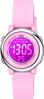 Venhoo Kids Watches 7 Colors Lights Outdoor Sports Waterproof Silicone Children Digital Toddler Wrist Watch for Little Girls Boys Child with Luminous Alarm Stopwatch-Pink