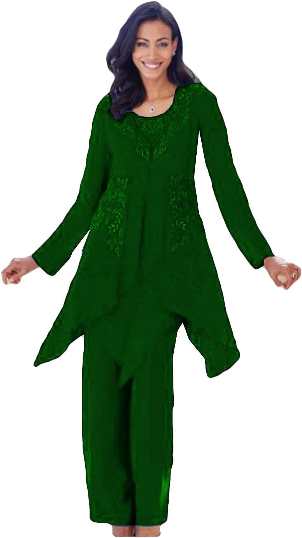 Xixi House 2021 Chiffon Mother of The Bride Pant Suit Elastic Waist Wedding Guest Trouser Outfit with Lace Applique