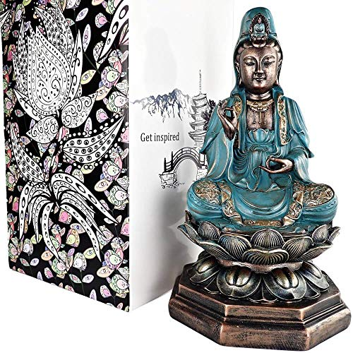 25DOL Buddha Statues for Home. 13' Kuan Yin Statue, Buddha Statue (Guan yin Statue/Padmapani on Lotus). Collectibles and Figurines, Meditation Decor, Spiritual Living Room Decor, Yoga Zen Decor