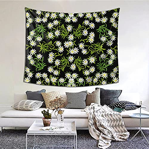 Swiss Alpine Edelweiss Floral Tapestry Wall Hanging Wall Art,Multi Purpose Horizontal Wall Backdrop Blankets for Living Room Bedroom Dorm Home Party Decor,152x130cm
