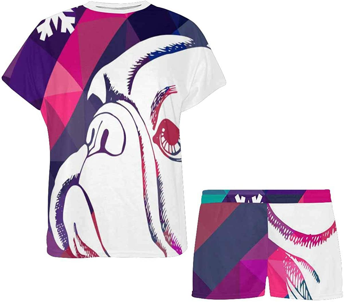 INTERESTPRINT Bulldog Colorful Background Women's Breathable 2 Piece Shorts Pajama Sleepwear Set