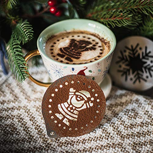 TRIXES 3 Piezas Kit de Plantilla de Navidad-Bebidas Calientes- 1 x Papá Noel-1 x Hombrecillo de Jengibre -1 x Copo de Nieve-1 X Café-Pasteles-Festividades–Reutilizables