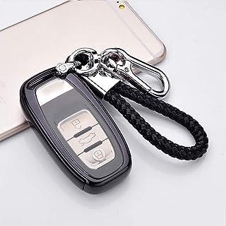 Kakash アウディ専用高品質のTPU素材スマート キー ケース キーカバー キーホルダー 保護 ケース汚れ、傷防止 落ちに(ブラック)適合アウディ A4 A6 A5 Q5 A7 A8 S5 S6 S7 SQ5 RS5 S8 Q7 TT TTS R8