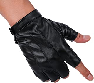 JISEN Men PU Leather Punk Half Finger Snap Performance Gloves