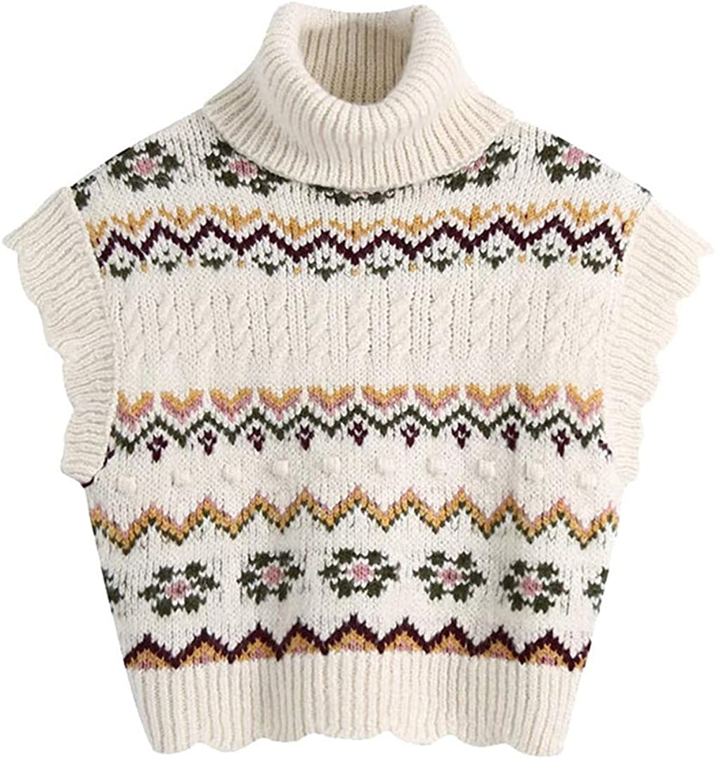 Women Jacquard Cropped Cable-Knit Vest Sweater Vintage High Neck Ruffled Armholes Waistcoat Mujer