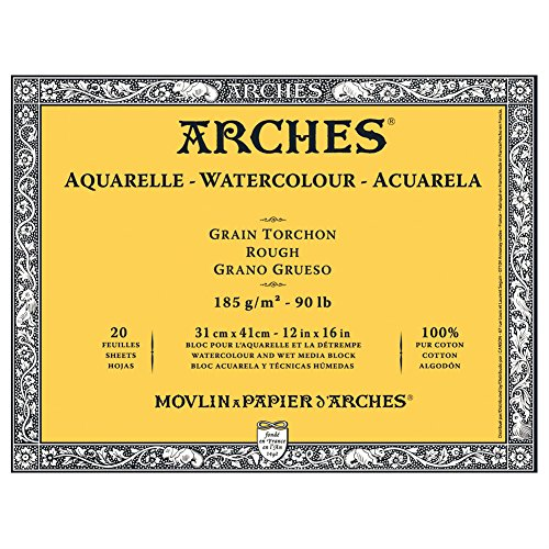 Arches Aquarelle Block 20Blatt 185g Grain Geschirrtuch weiß natur Torchon Körnung 31 x 41 cm Blanc Naturel