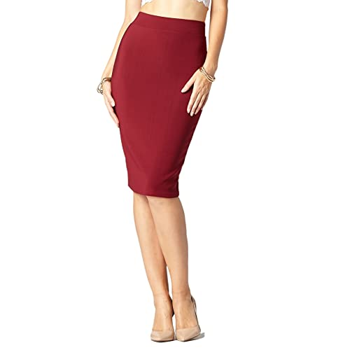 adc5be0c5fba Premium Women's Pencil Skirt - Elastic Waist - Stretch Bodycon Midi Skirt -  Many Colors