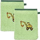 Erwin Müller Kinder-Waschhandschuh, Waschlappen 2er-Pack Traktor, Bagger grün Größe 15x21 cm - 100% Baumwolle, mit hochwertigem Stickmotiv