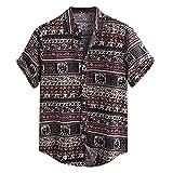 N\P Hombres Retro Verano Casual Impreso Camisa de manga corta Algodón de los Hombres