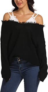 Aranmei Women's Loose Knitted Off The Shoulder Sweater V Neck Ripped Pullover Knit Jumper