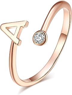 HUASAI Ross خاتم الذهب الأولي للنساء قابل للتعديل 26 خواتم الأبجدية القابلة للتكديس مع اسم أولي حلقة مفصل كهدية إشبينة العروس