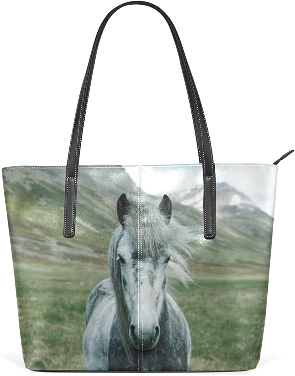 Horse Lover Gift Horse Purse Beautiful Horse Shoulder Bag Colorful Horse Purse White Mustang Tote Bag Unique Horse Tote Bag