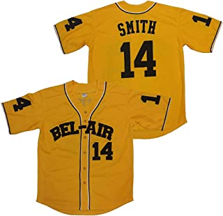 Kooy Smith #14 Bel Air Academy Yellow Baseball Jersey Men Clothing Christmas Summer