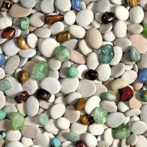 toile cirée nappe table au mètre pierres Maritime c147030 taille SÉLECTIONNABLE en carré rond OVAL - Bariolé, 140 x 160 cm eckig