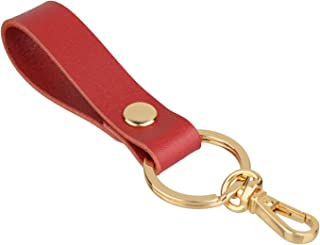 Richbud Vegetable Leather Keychain POB Lobster Snap Gold Handcraft Key Ring Lanyard Handmade (Red)