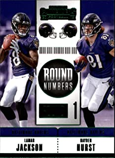 2018 Panini Contenders Round Numbers Emerald #RNA-JH Hayden Hurst/Lamar Jackson Baltimore Ravens NFL Football Trading Card
