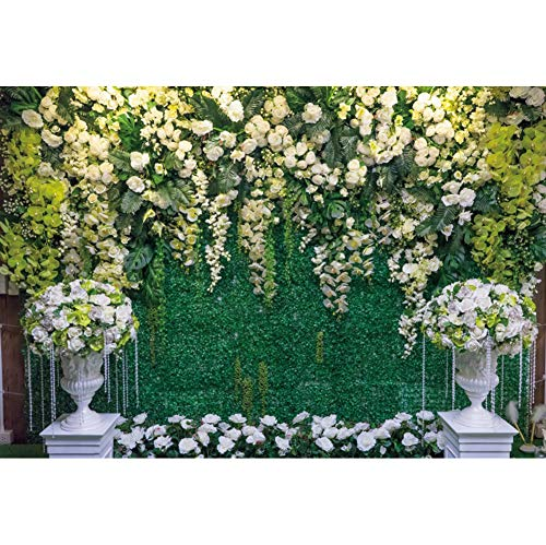 Haoyiyi 5x3ft Wedding Arch 3D White Flowers Wall Bakcdrop Spring Green Leaves Microfiber Garland Background Photography Photo Lover Mom Bridal Shower Reception Annivesary Photo Studio Booth Props